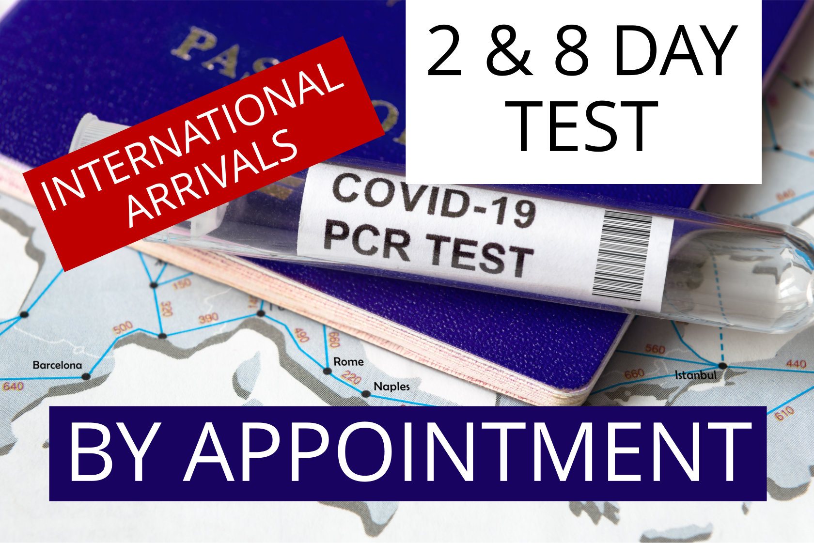 COVID-19 Travel Testing Package, Day 2 & 8 after International Arrival